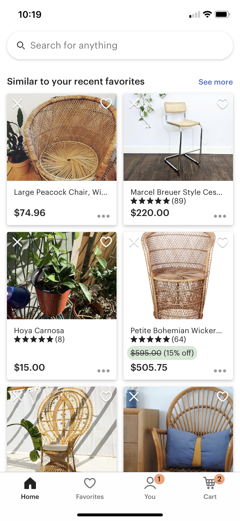 etsy app favorite suggestions