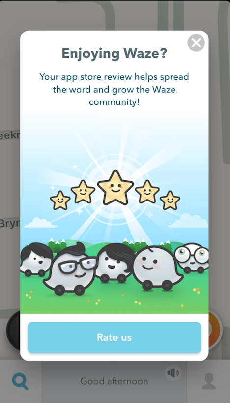 waze app store rating prompt in-app review request