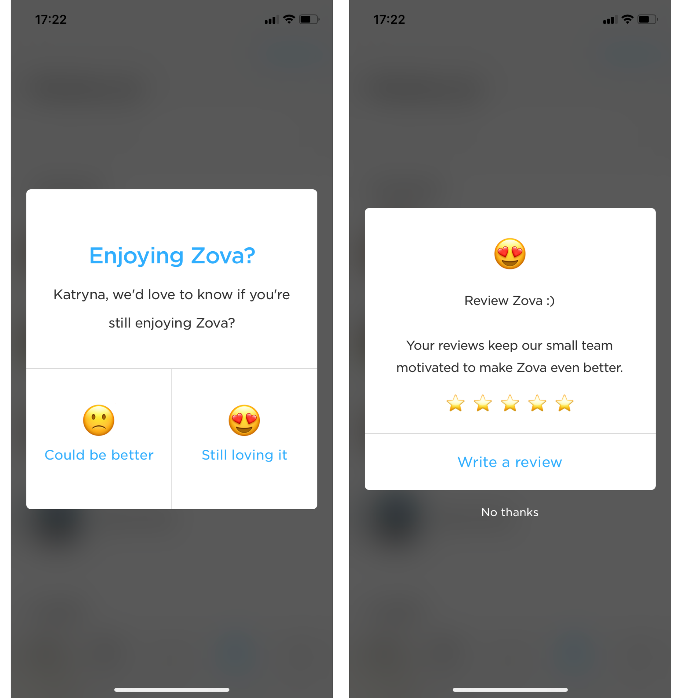 zova mobile app user review request emoji rating system