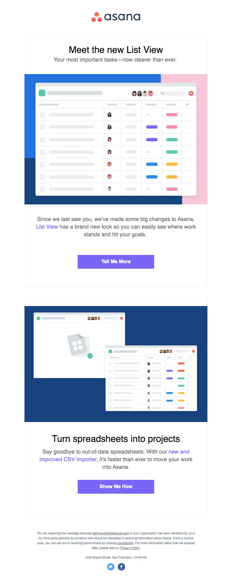 asana new feature mini product launch marketing email