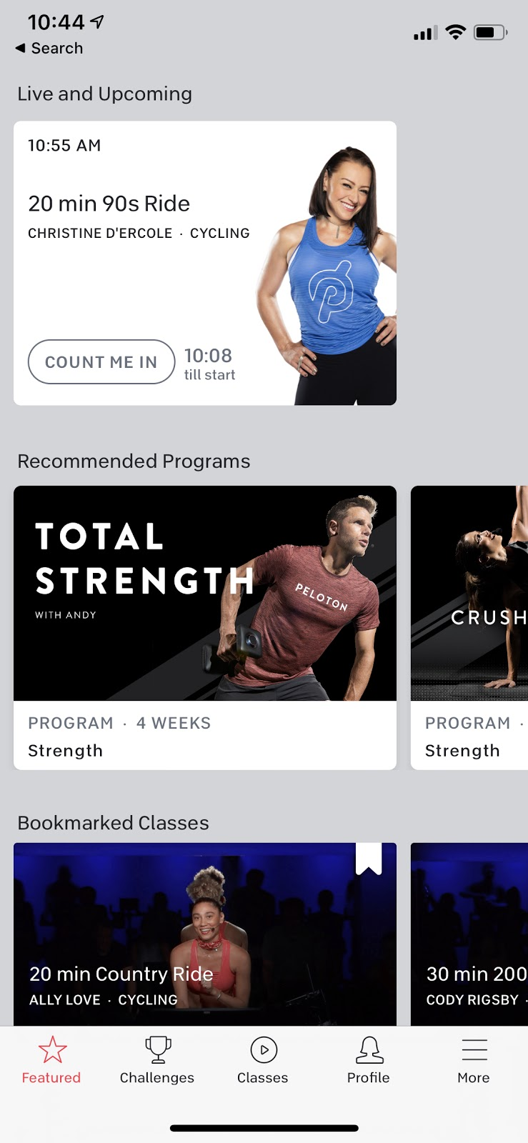 peloton mobile app live and upcoming classes