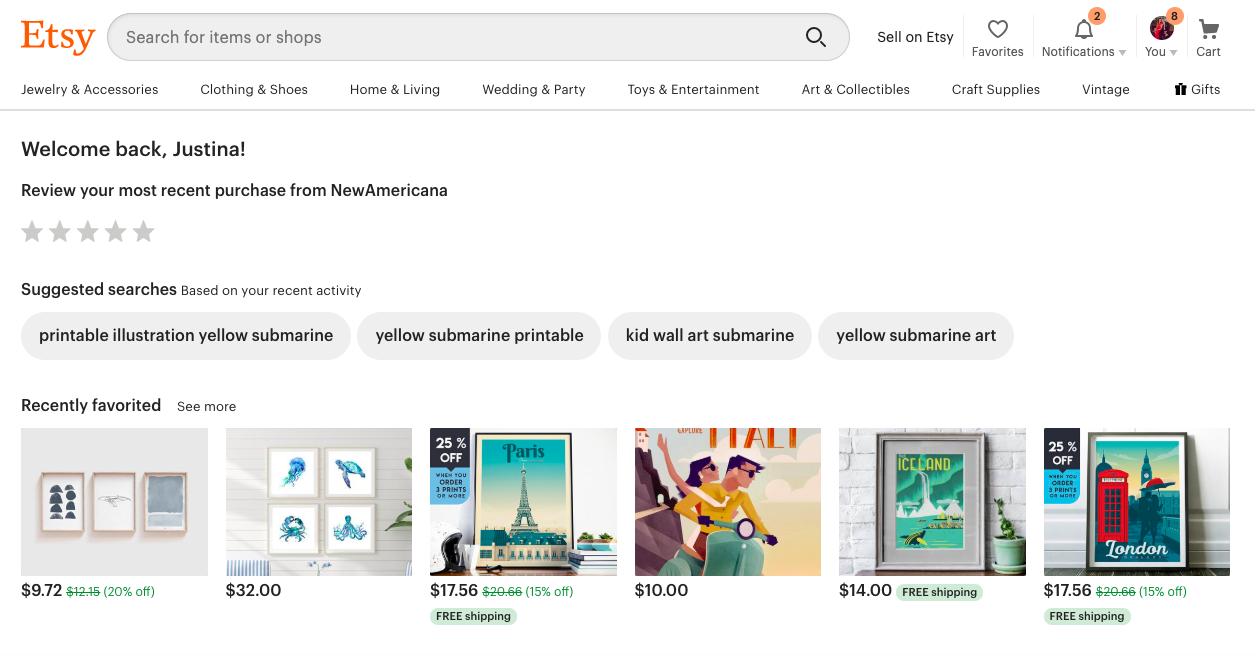 etsy website personalized by user behavior history