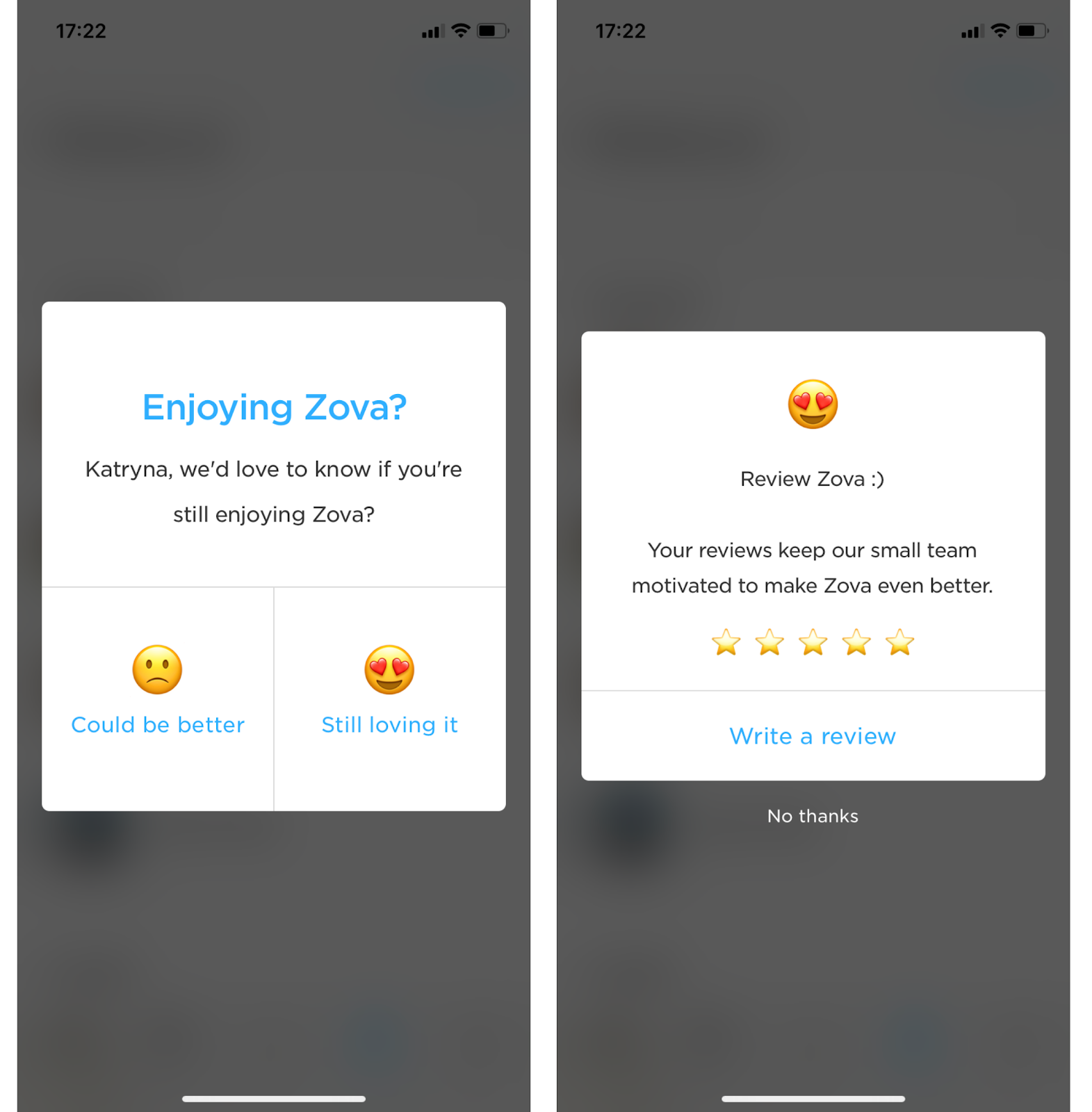 zova app rating user feedback request