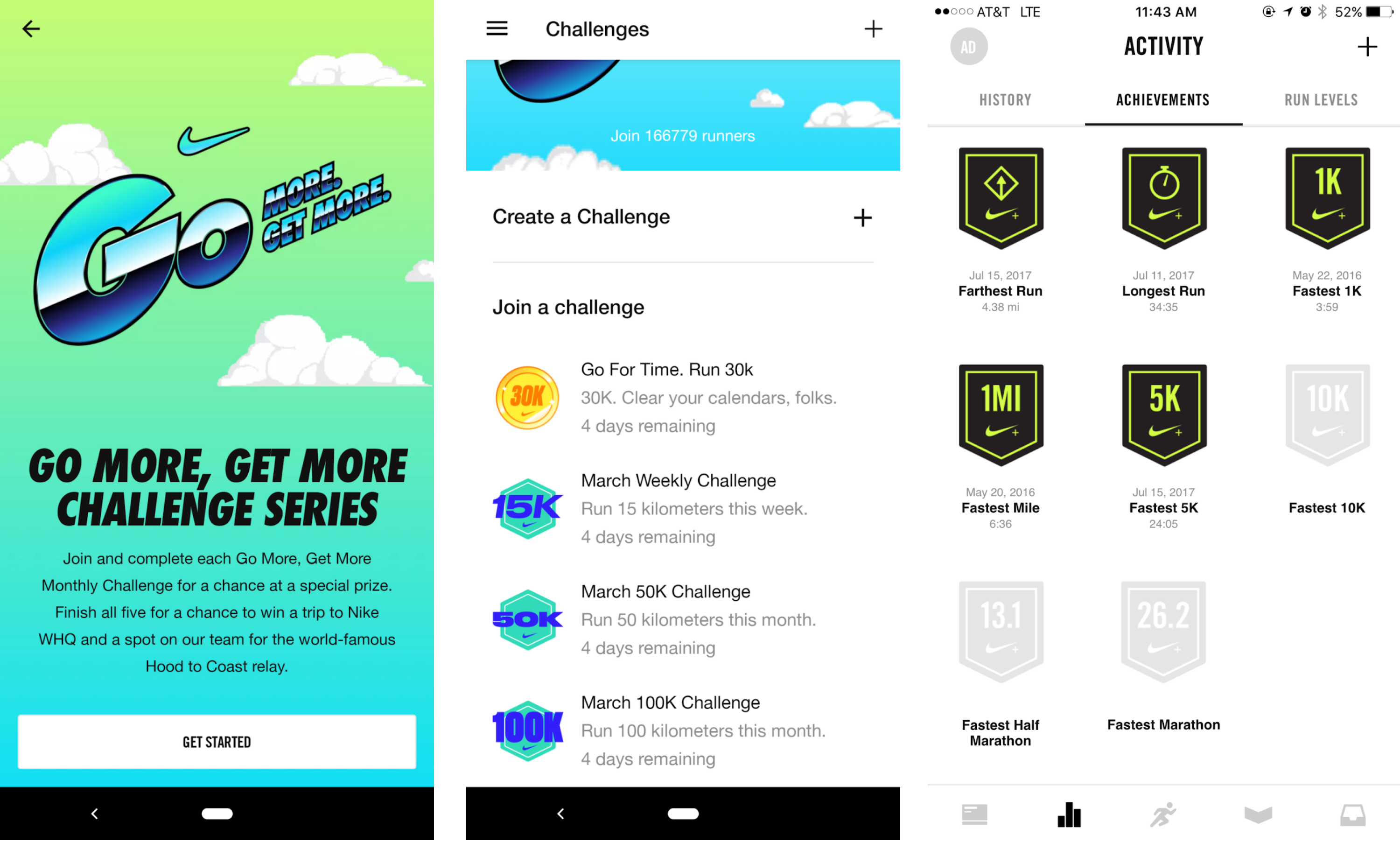 nike run club gamification example challenges achievement badges