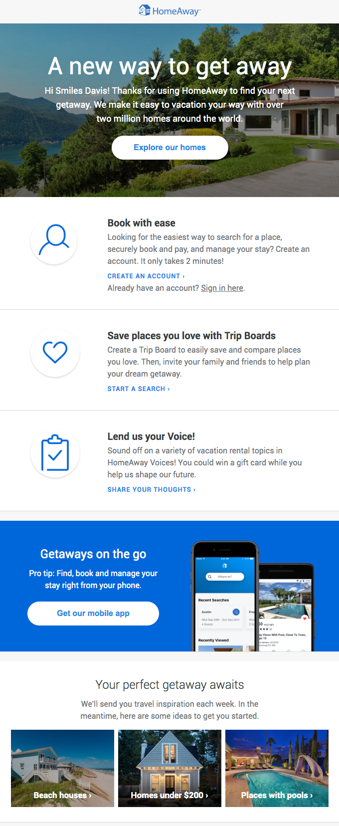 homeaway welcome onboarding email example