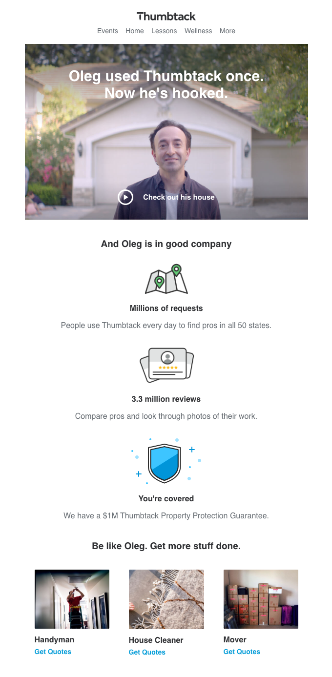 social proof testimonial email example from thumbtack