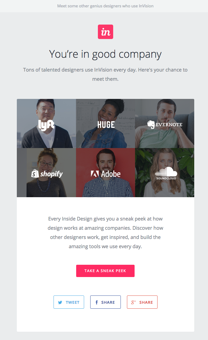 invision user onboarding testimonial email example