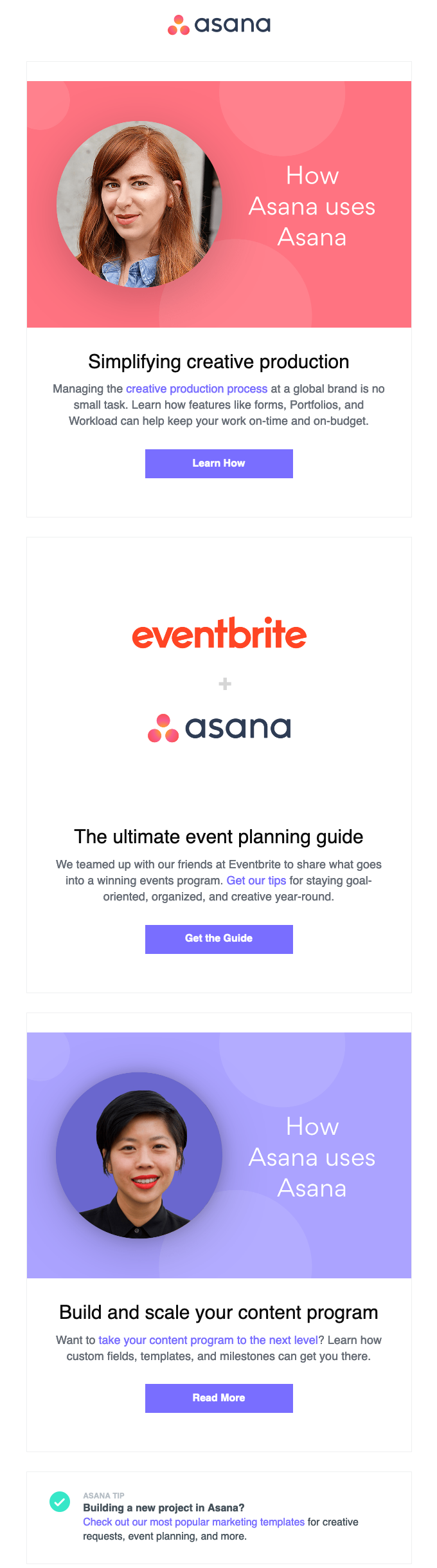 asana marketing email user onboarding drip example