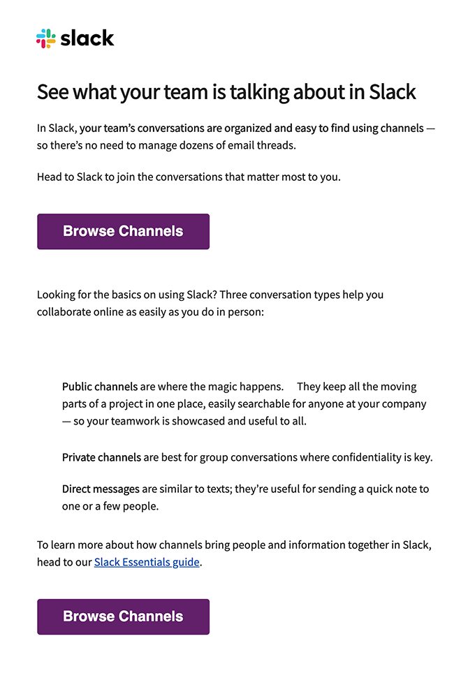 slack re engagement email user onboarding drip example