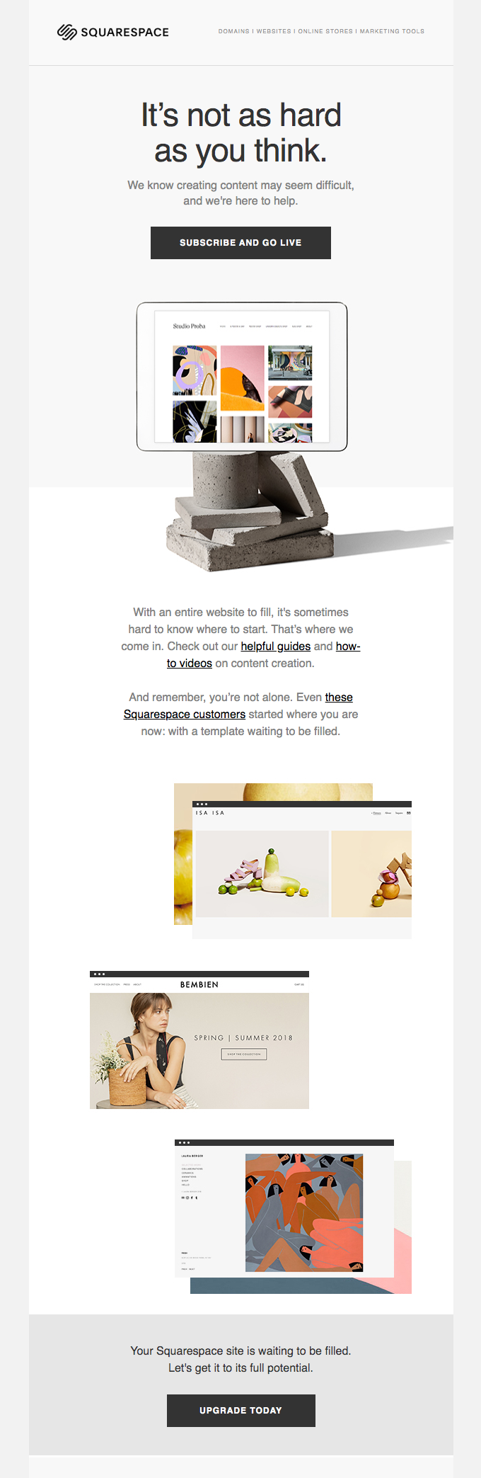 squarespace engagement email example
