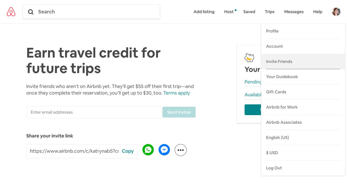 airbnb user referral campaign invite friend