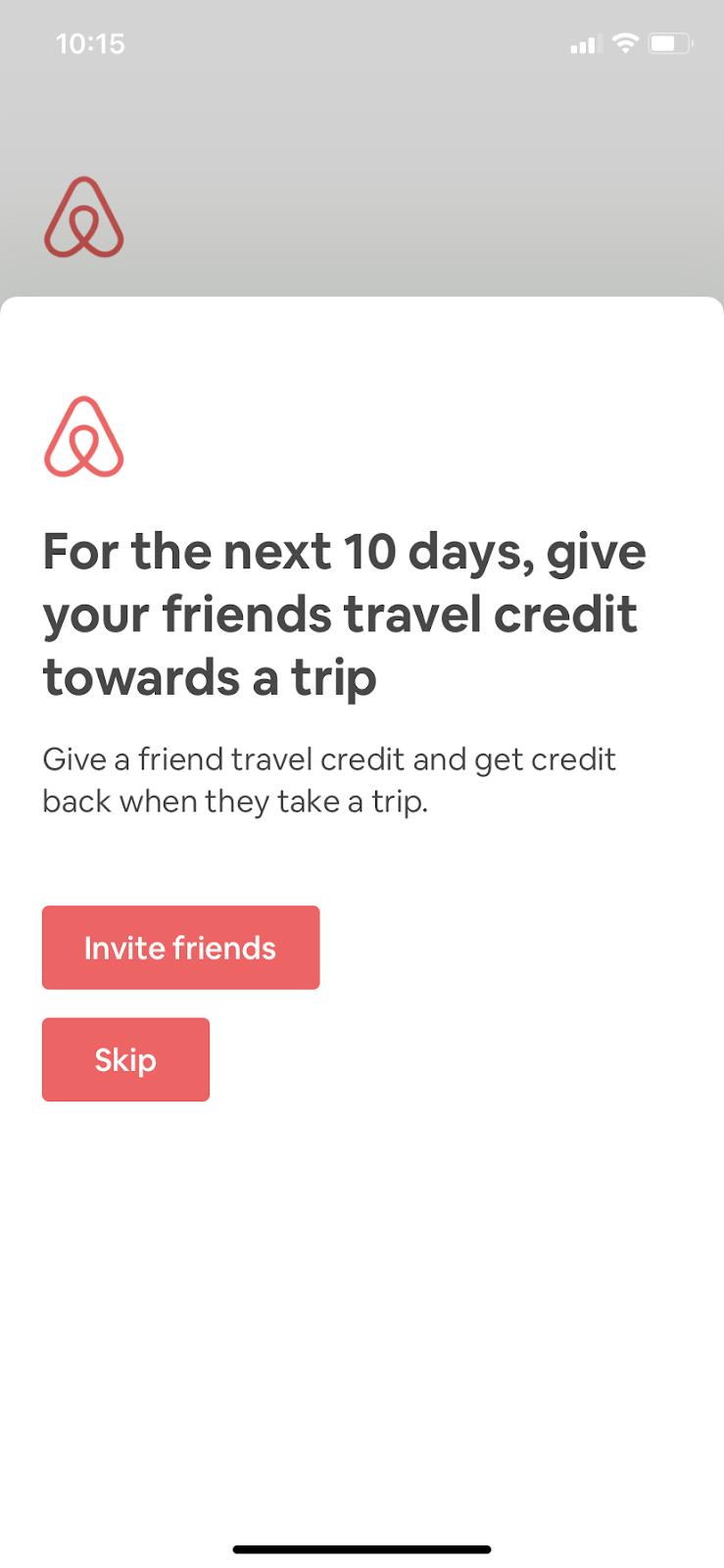 airbnb mobile app invite user referral campaign