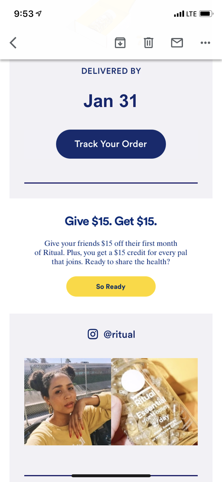 ritual vitamin customer referral program email example for viral growth