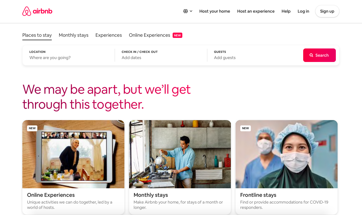 airbnb marketing homepage ungated content