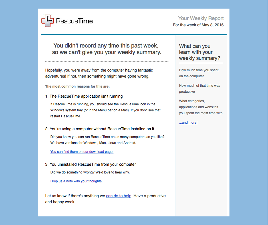 rescuetime customer support email example from a saas productivity app