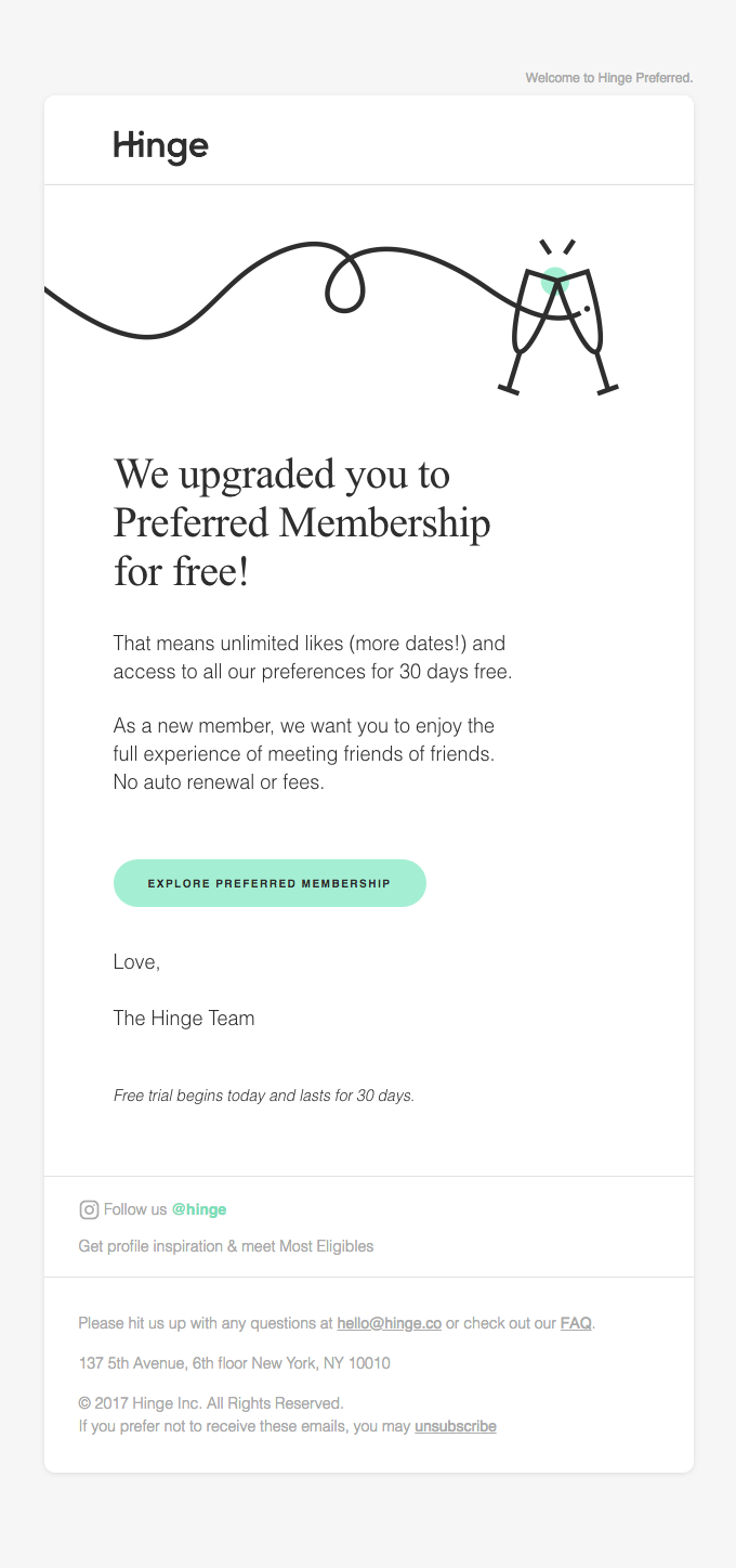 hinge email re engagement email free trial
