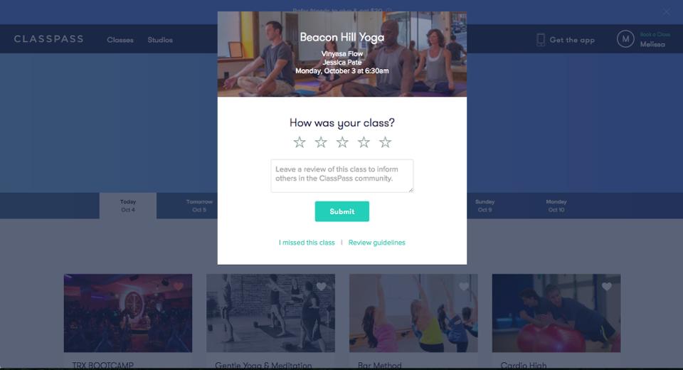 classpass class rating user review prompt