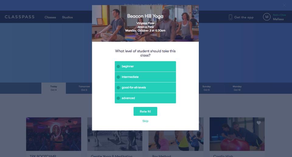 classpass in-app user feedback request modal popup