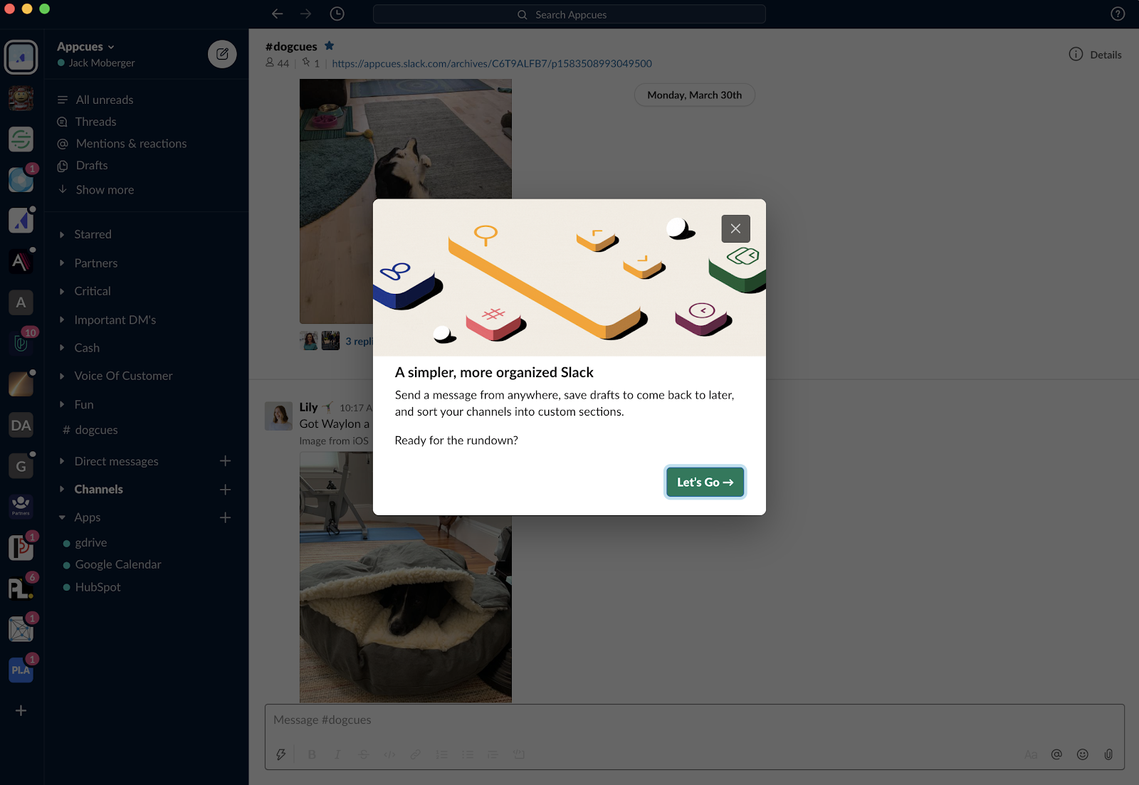 slack redesign product tour modal with upfront value prop