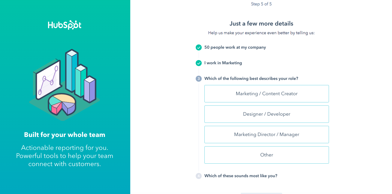 hubspot sales signup user onboarding flow for new users