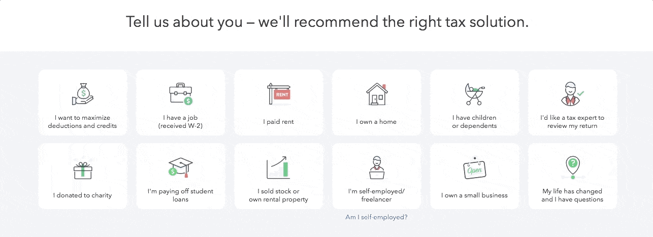 turbotax onboarding tell us about yourself personalizing questions