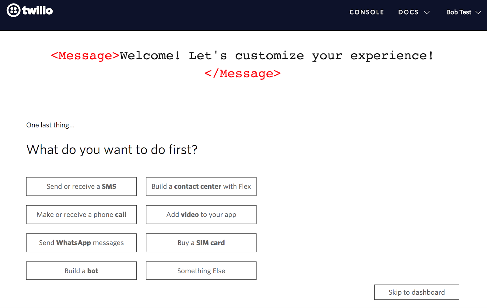 twilio user onboarding personalization question 4