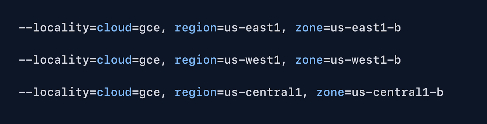 Example of CockroachDB locality configurations