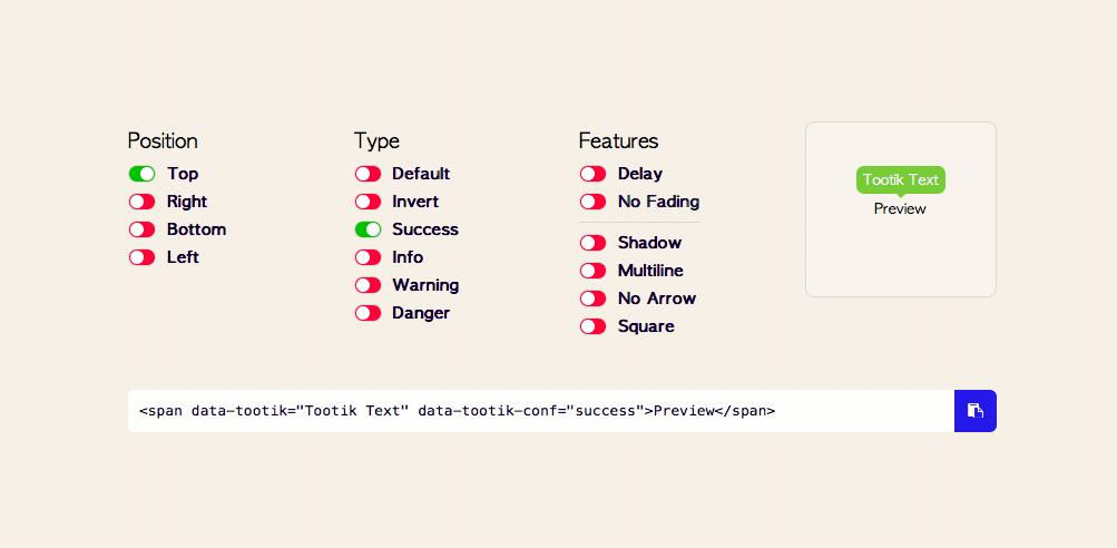 tootik css tooltip library sampler