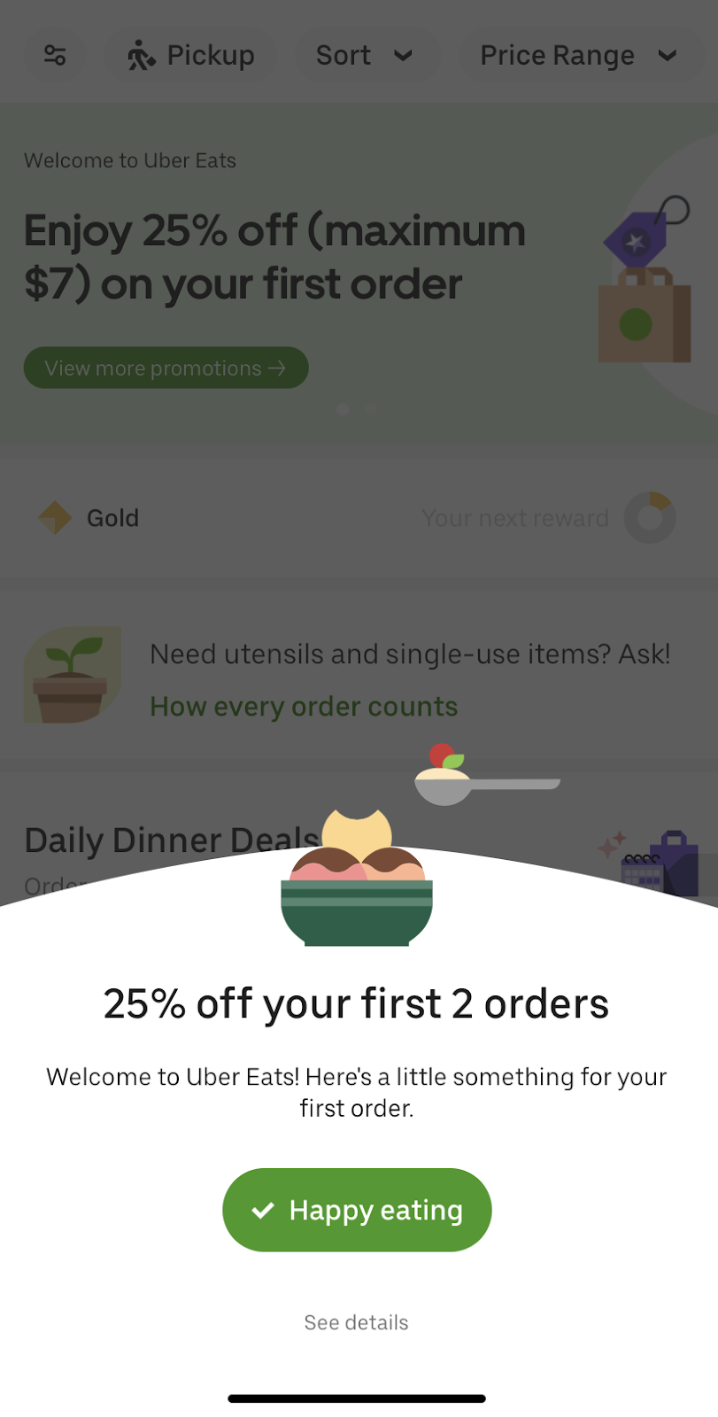 ubereats app triggered in app marketing promotion