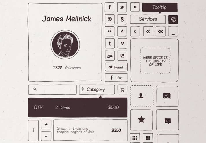 Cool free UI kit with hand drawn style for mocking up unique UI designs