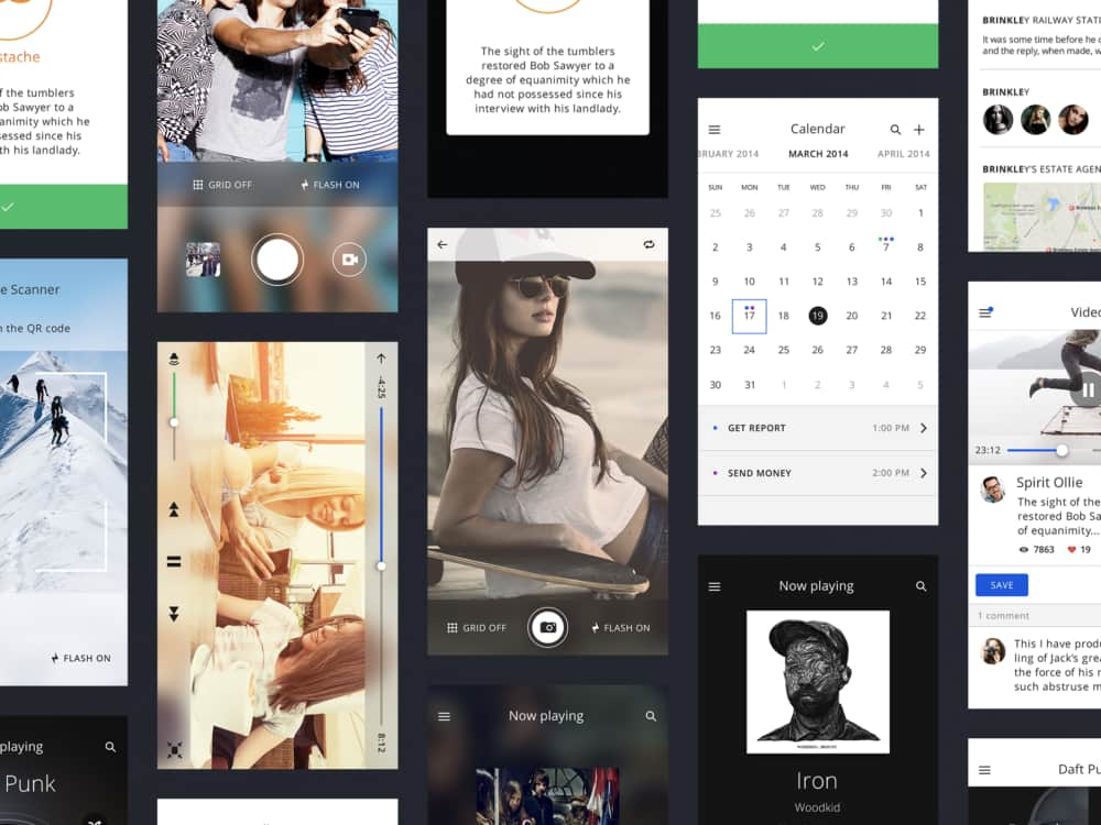 iOS iphone design UI kit free for PSD and Sketch