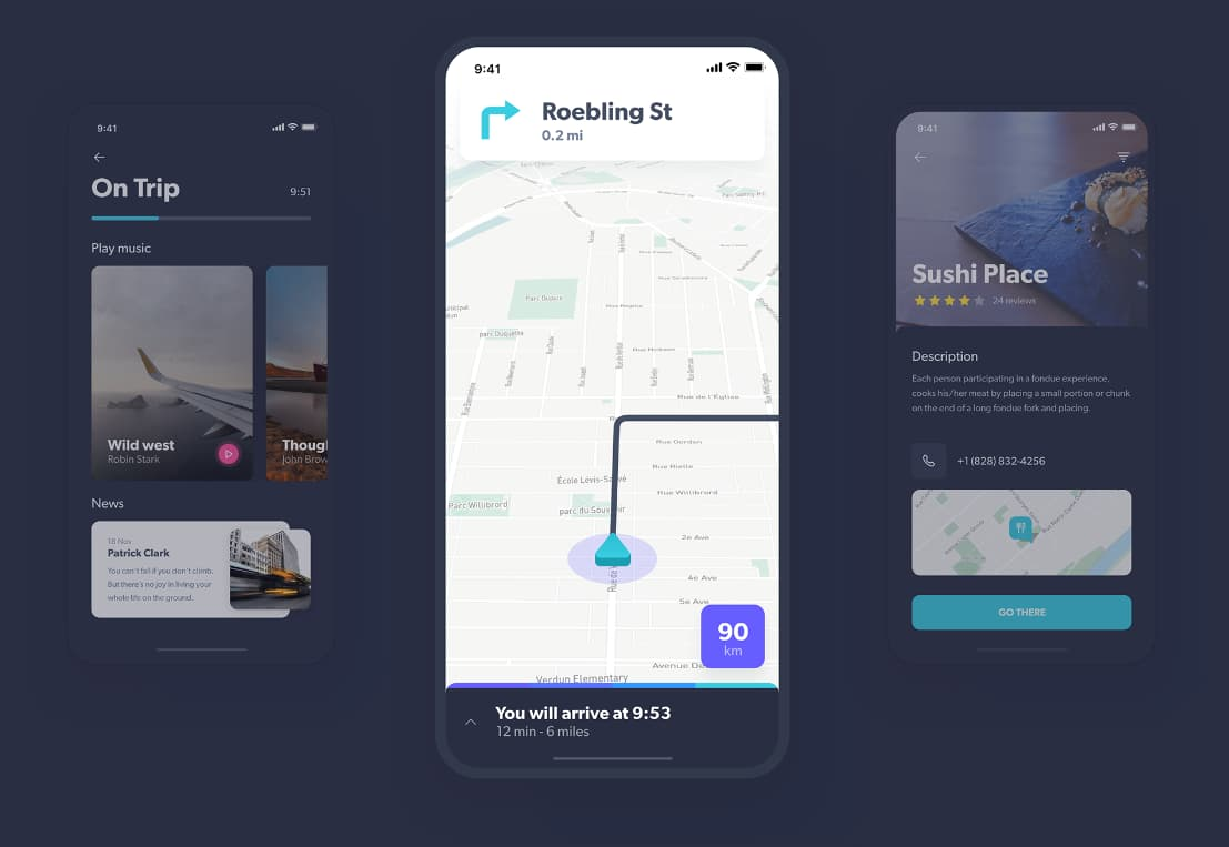 transportation ios mobile app ui kit with map elements