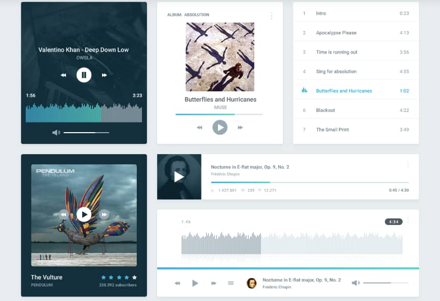 Pixel-perfect UI kit for photoshop with multiple categories including and music (shown in screenshot).