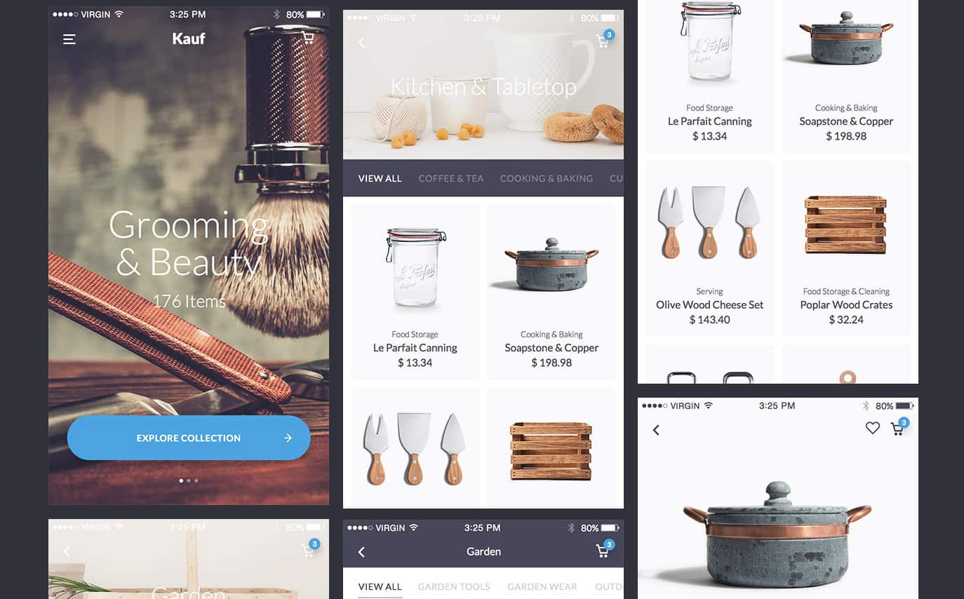 Mobile UI kit. Free full vector UI kit with multiple categories including ecommerce. free to download