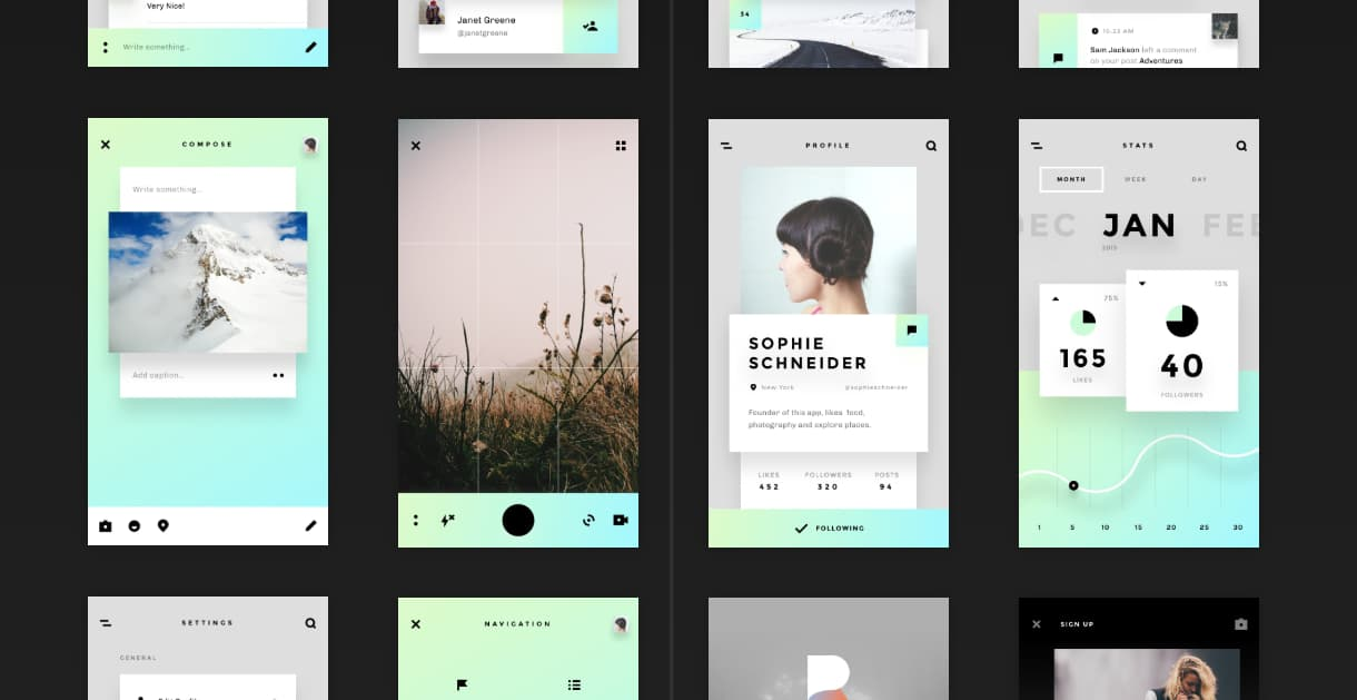 Stunning UI kit from Invision for social media UI. Free social media UI kit with 45 templates and 99 UI elements.