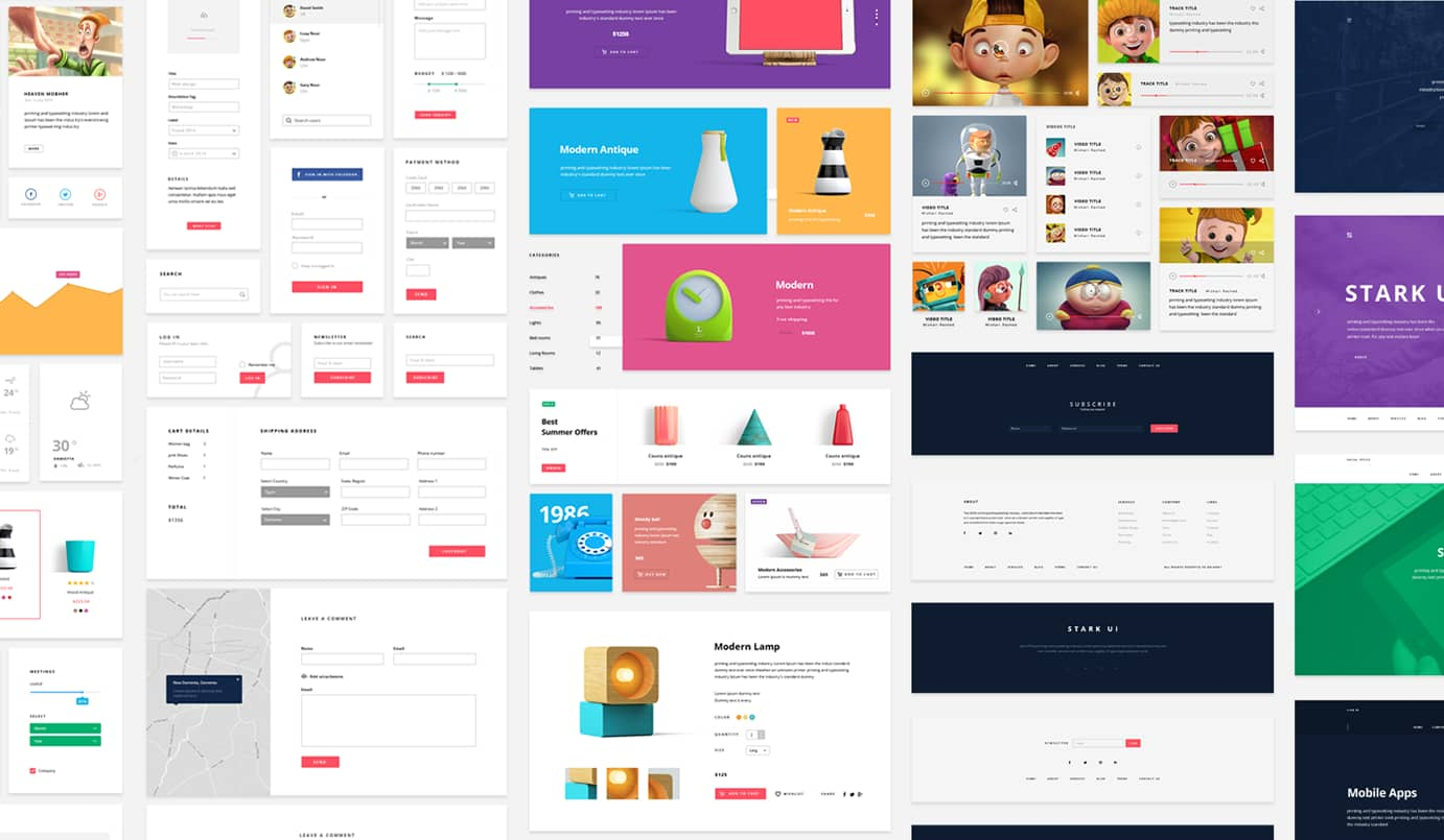 Stark, clean user interface kit free for photoshop