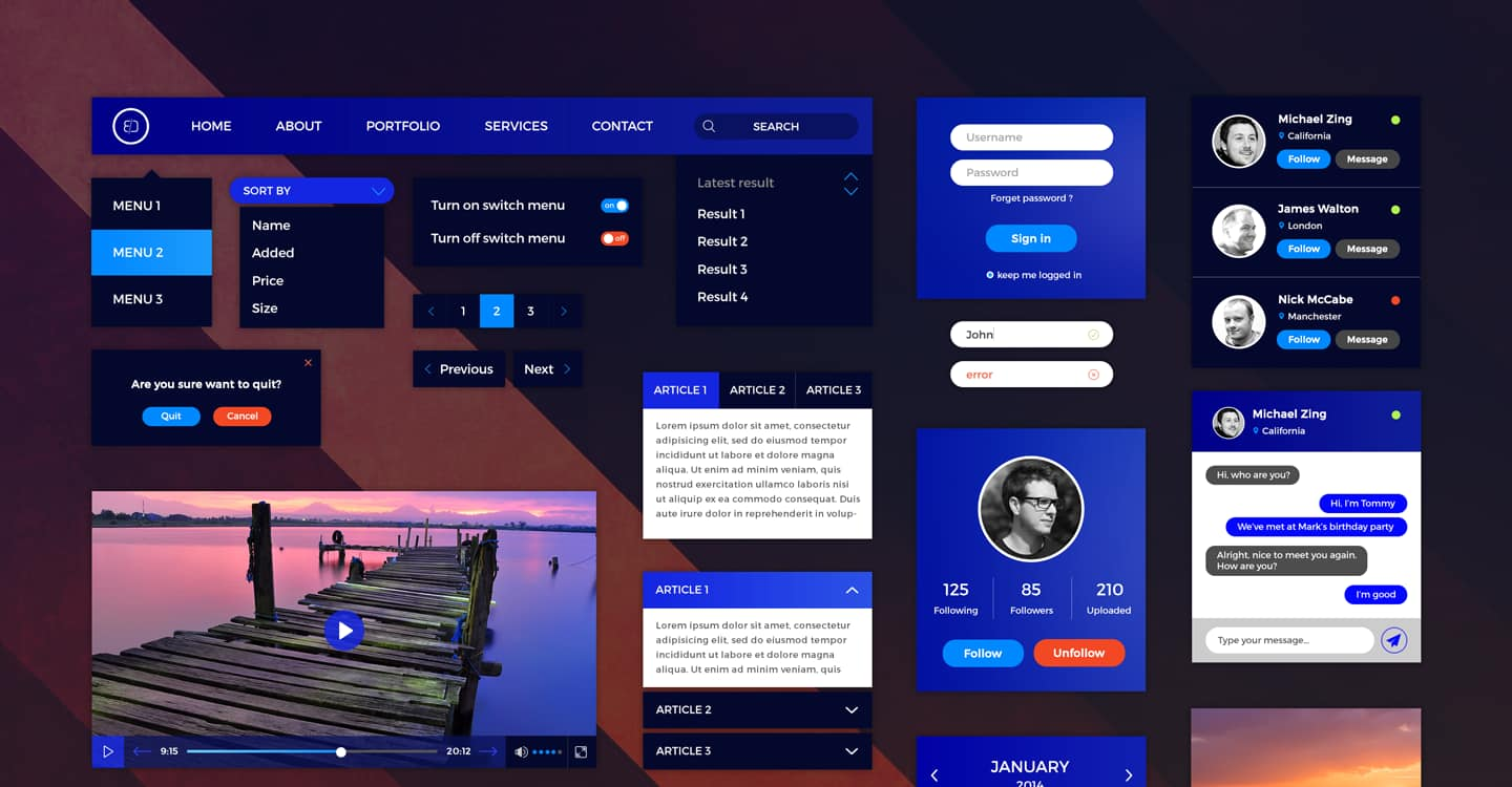 retina ready UI kit for high resolution screens free to download. Dark, purple, blue UI kit for gaming,