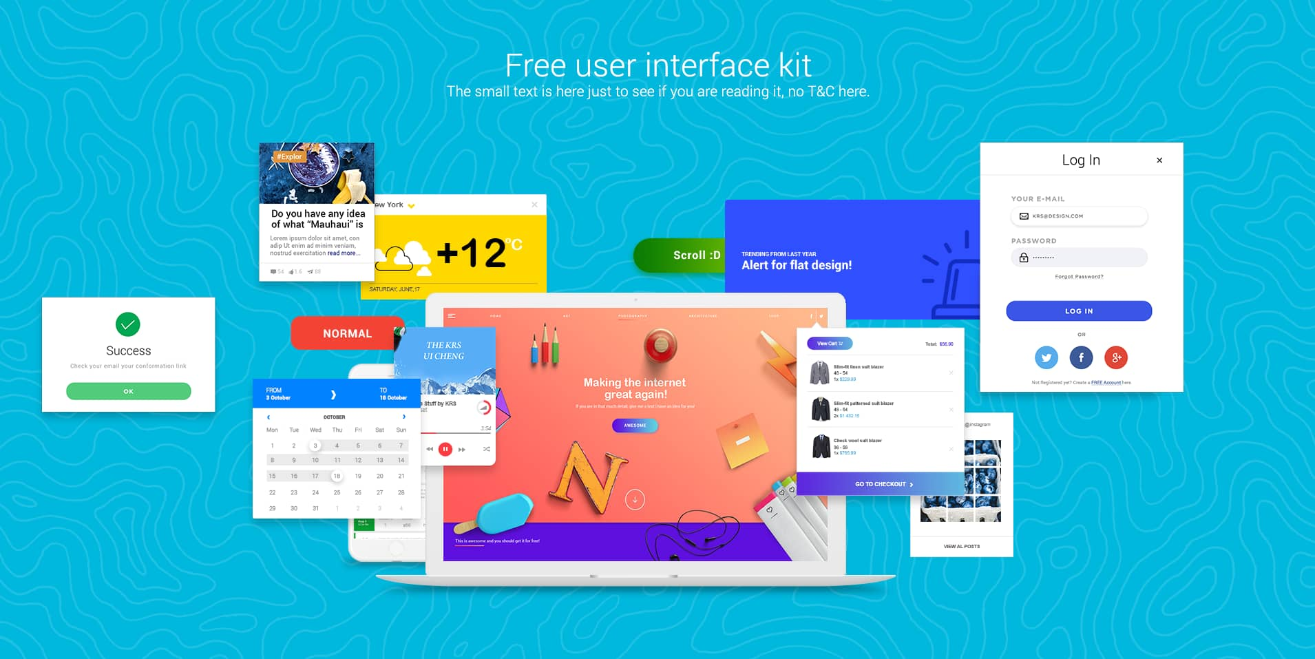 Colorful UI kit. Free user interface kit with 1000 pixel perfect UI components for download free.