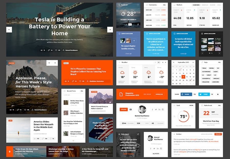 Dark blog UI kit for free download. Download UI vector kit for free and create beautiful websites