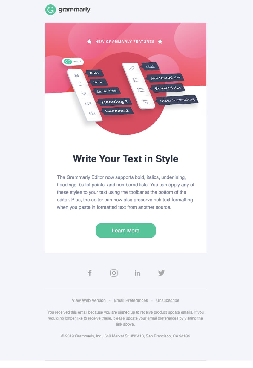 grammarly new features email example