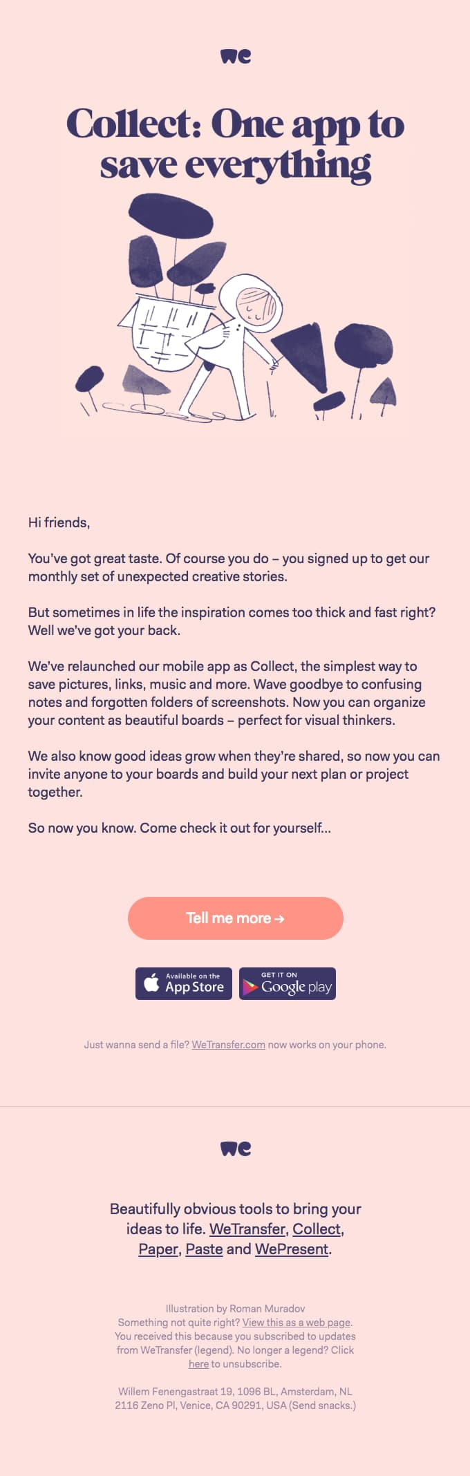 product launch announcement email example from wetransfer collect app