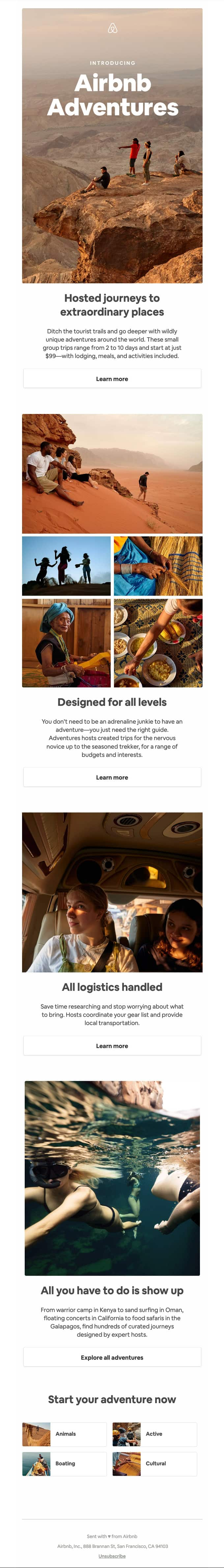 Airbnb adventures product launch email example photography layout