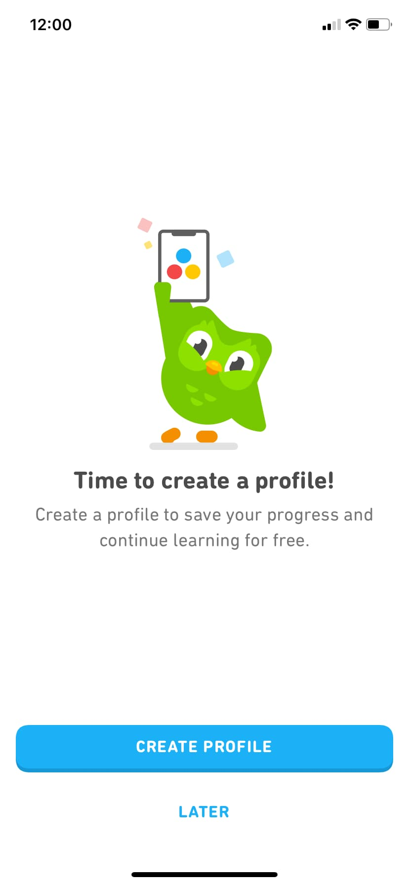 screenshot image of duolingo mobile app. this screen is prompting the user to create an account this is a great example of user onboarding for mobile