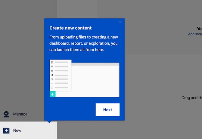 screenshot image of ibm cognos analytics onboarding experience made with appcues. this is a great example of enterprise UX