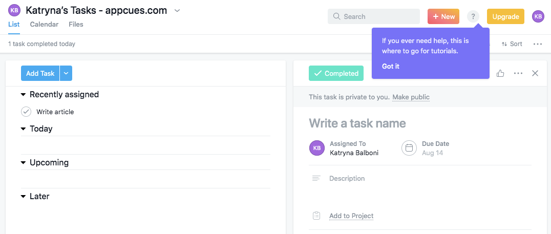 Asana ends their product walkthrough with a tooltip that shows users how to access self-service help in the future.