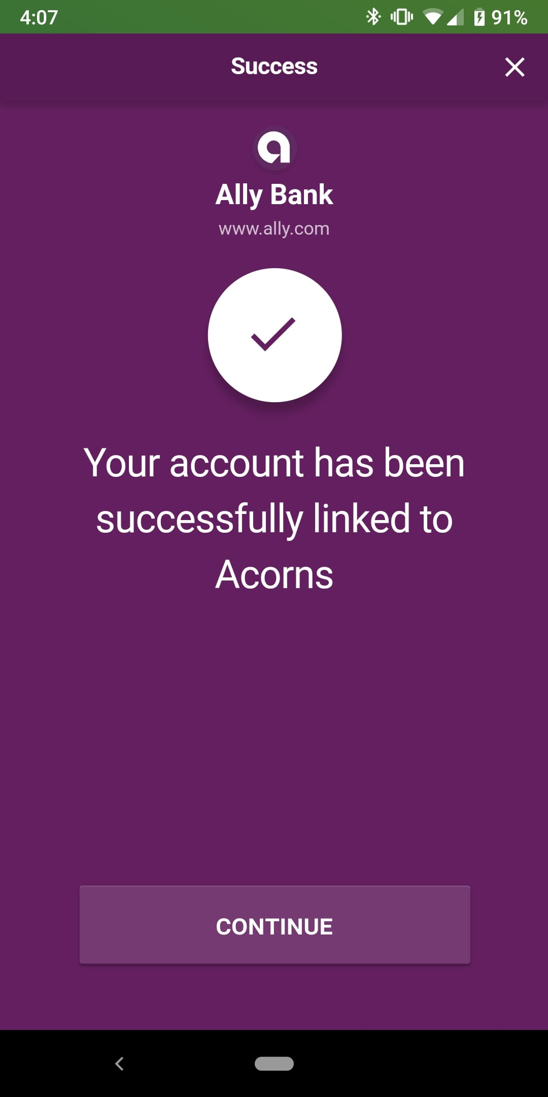 acorns mobile app linking bank account success message