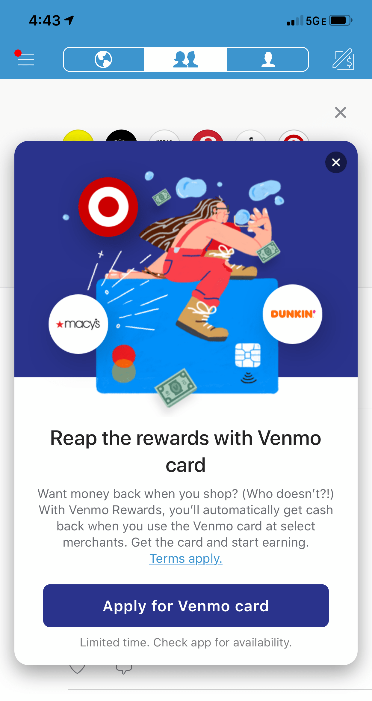 venmo card in app promotion modal message
