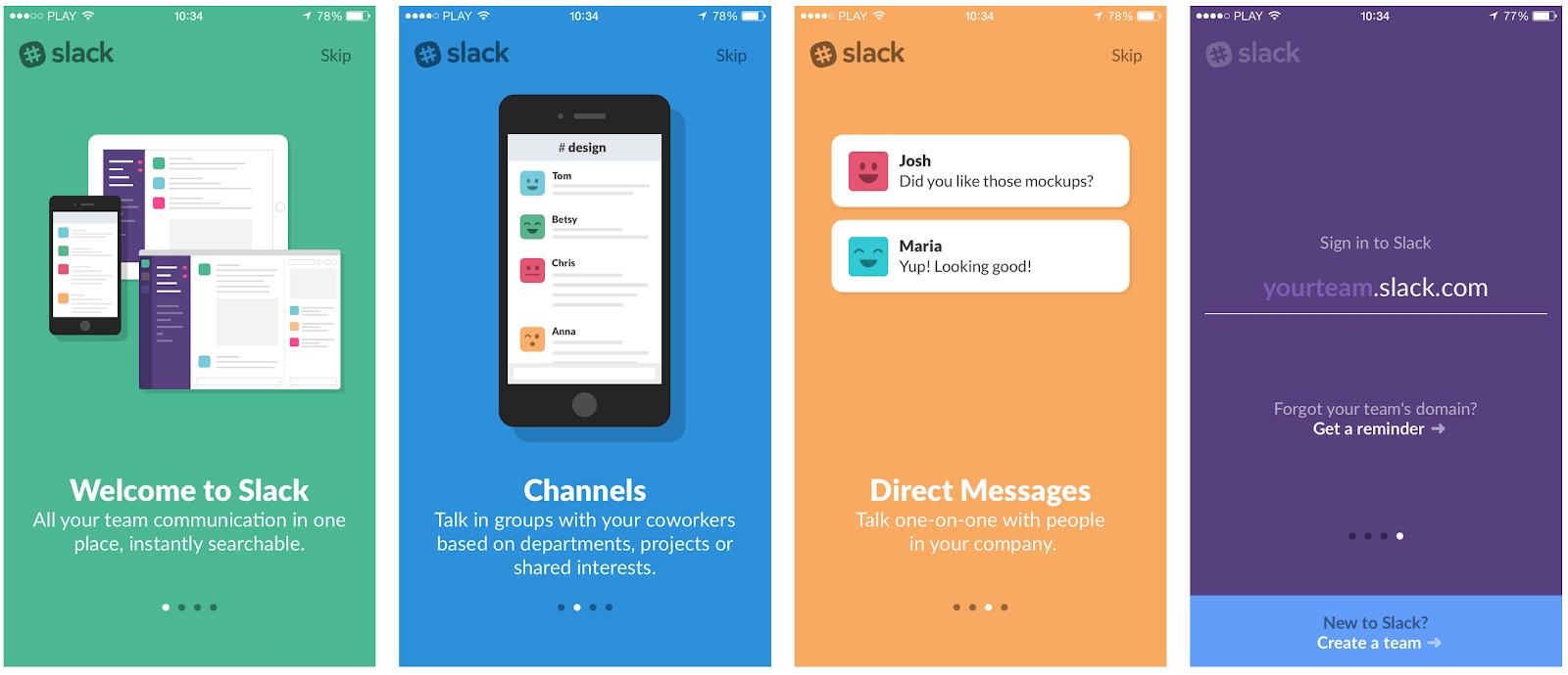 slack mobile app onboarding experience