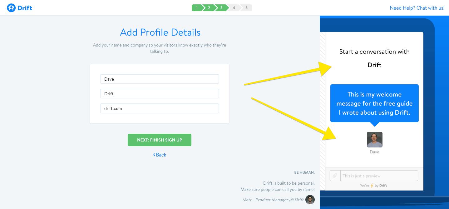 drift customization user onboarding step 3 profile details