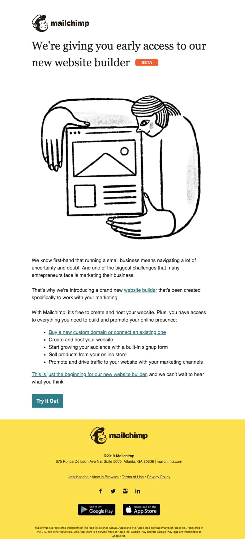 mailchimp early access beta announcement new product email example